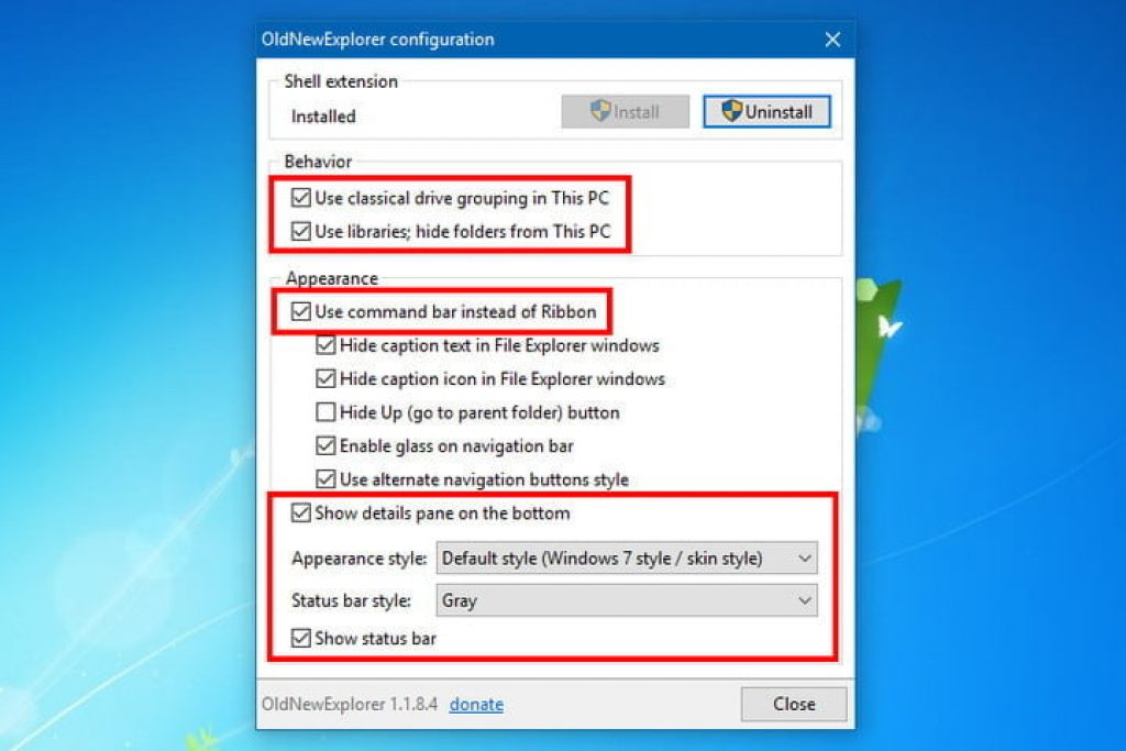 oldnewexplorer merubah toolbar windows 10