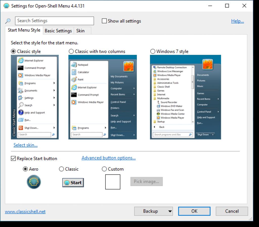aplikasi Open Shell untuk merubah windows 10 jadi windows 7