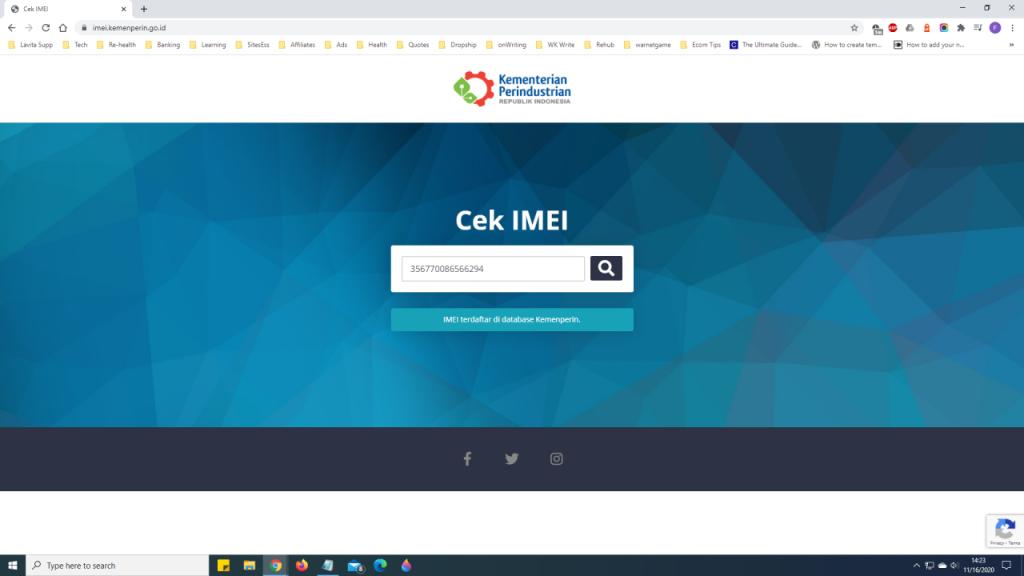 cek status IMEI ponsel di kementerian perindustrian RI