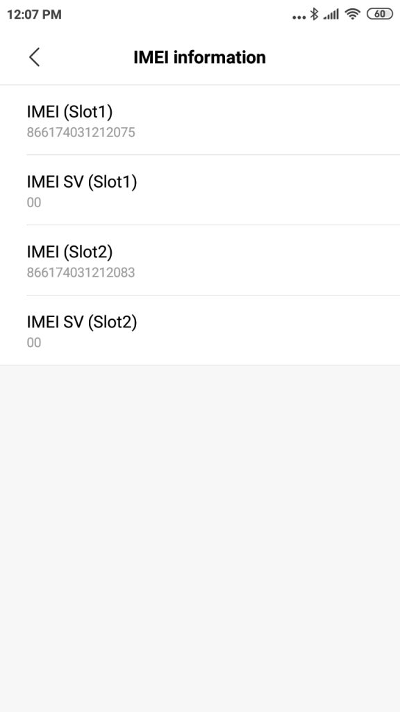 menu about android cek imei
