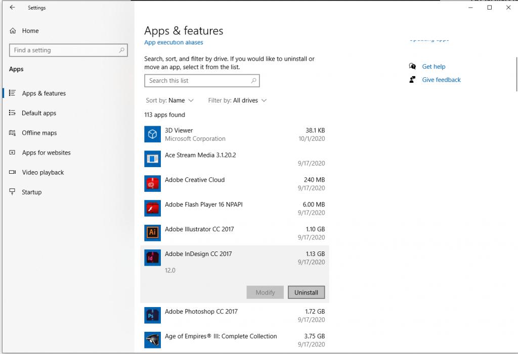 windows apps and features Cara Membersihkan Windows 10 dan Meningkatkan Kapasitas Hardisk [Panduan Lengkap]