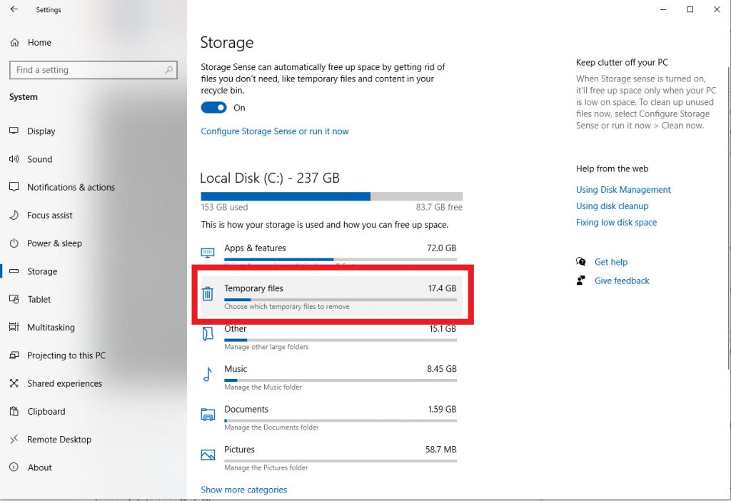 windows storage sense Cara Membersihkan Windows 10 dan Meningkatkan Kapasitas Hardisk [Panduan Lengkap]